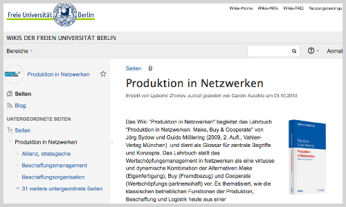 "Wiki ""Produktion in Netzwerken"" (Screenshot)"