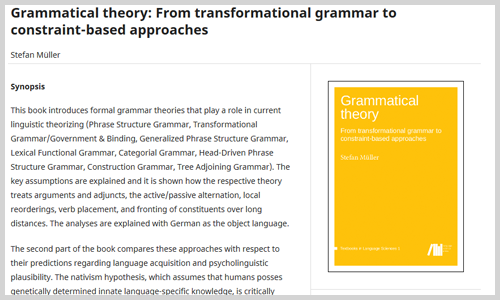 "Lehrbuch ""Grammatical theory"" (Screenshot)"