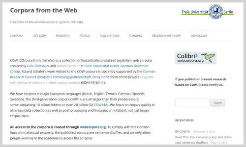 Corpora from the Web (Screenshot)