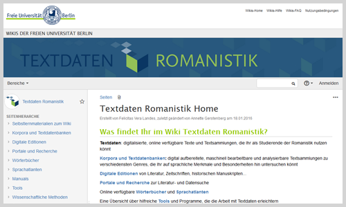 "Wiki ""Textdaten Romanistik"" (Screenshot)"