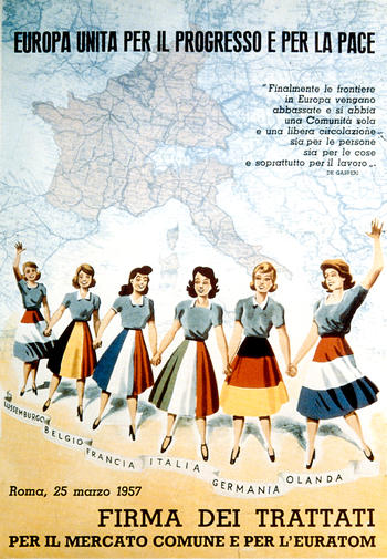 Italian poster celebrating the signature of the Treaties of Rome